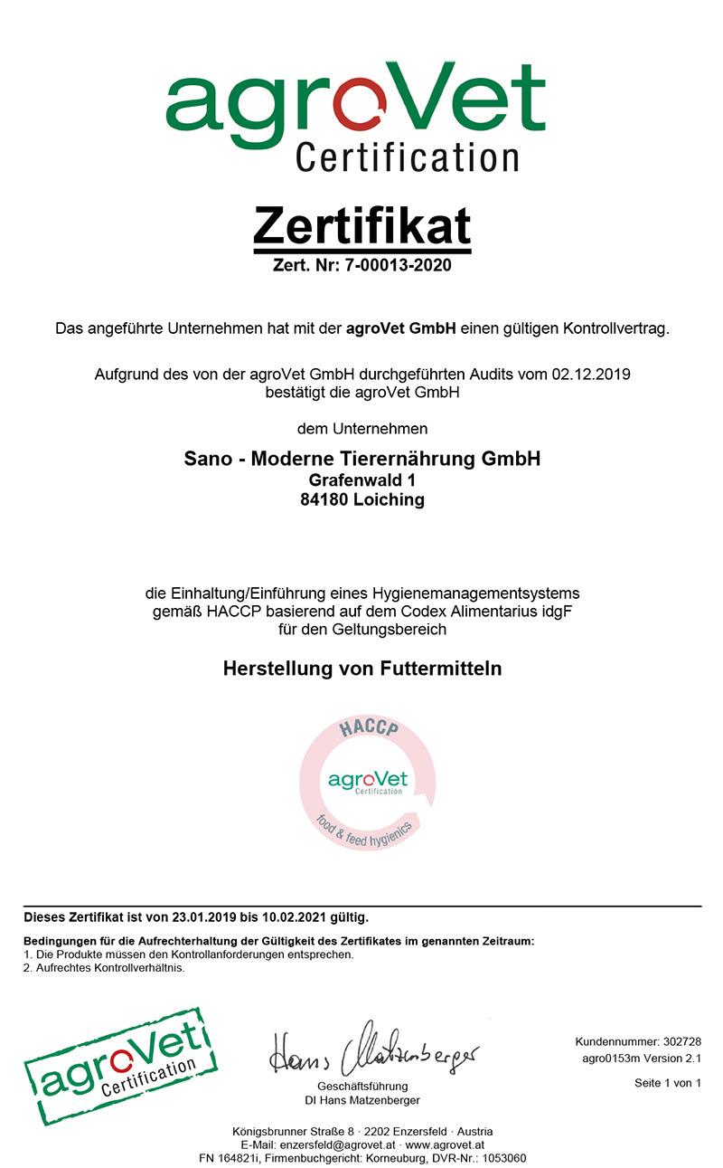 HACCP Zertifikat Sano