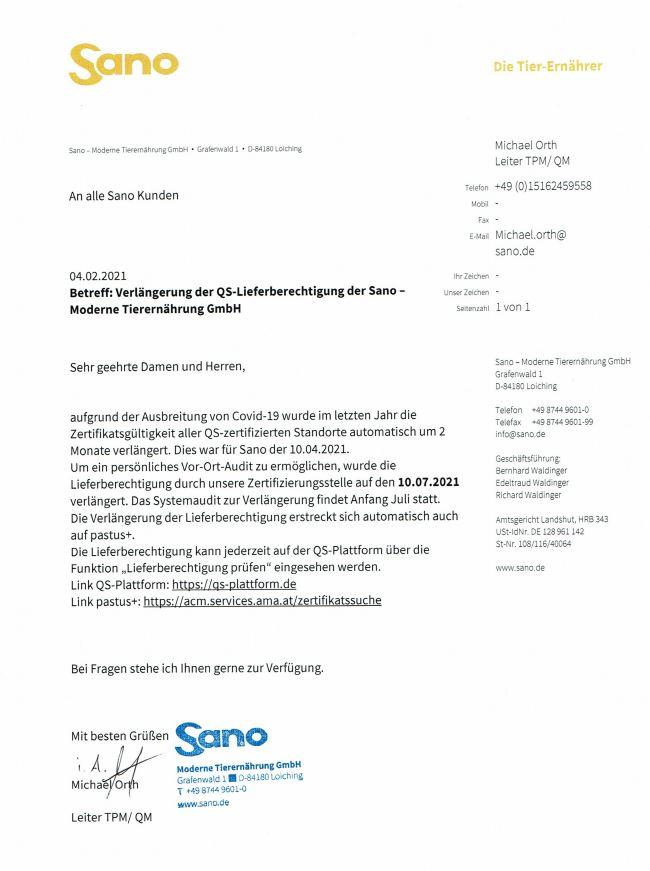 Verlängerung QS Zertifikat