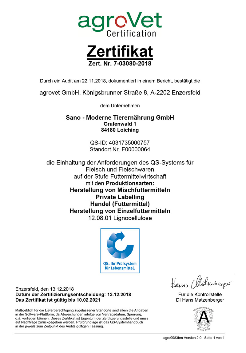 QS-Zertifikat Sano